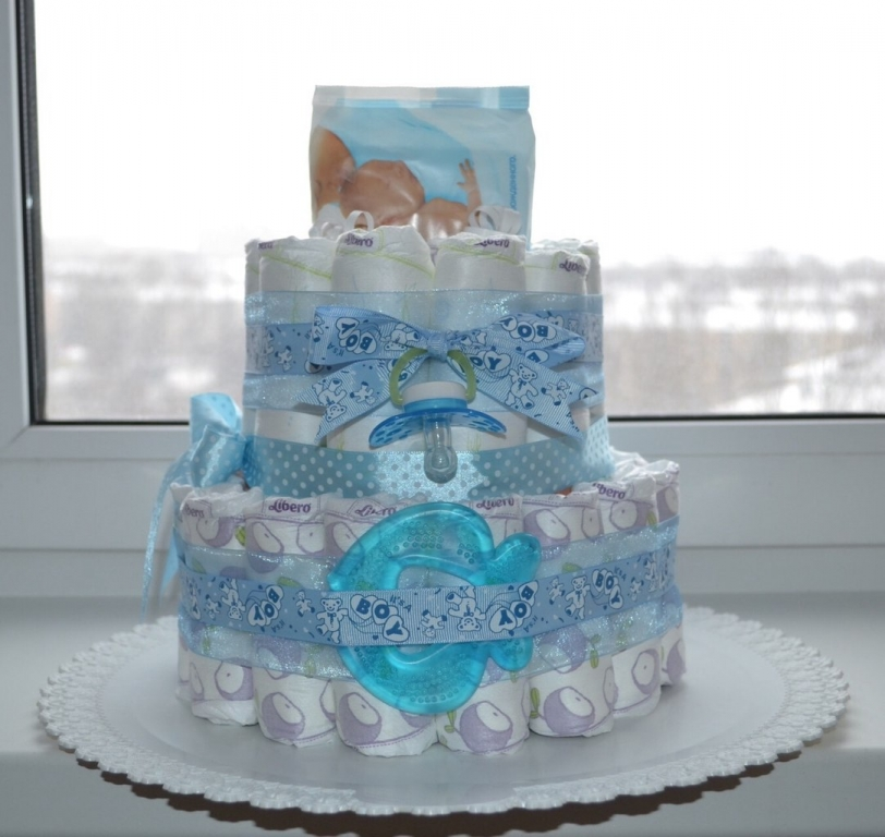 Фото торт с памперсов для новорожденных