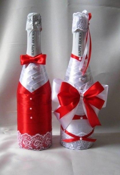 украшение бутылки шампанского на свадьбу своими руками из лент фото - Самоделкины