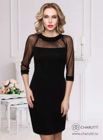 1143dda31ec Черное платье – футляр для уверенных в своей фигуре дам! Длина изделия 48  размер - 97