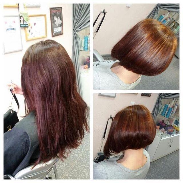 Выпрямление волос причёски