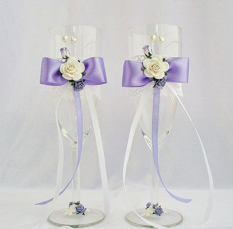 Украшение бокал на свадьбу своими руками