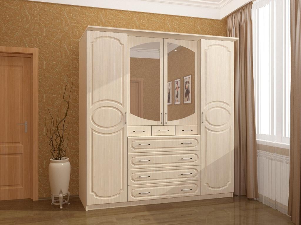 Шкаф для белья и платьев 4х-створчатый мдф карина-7 058 - ку.