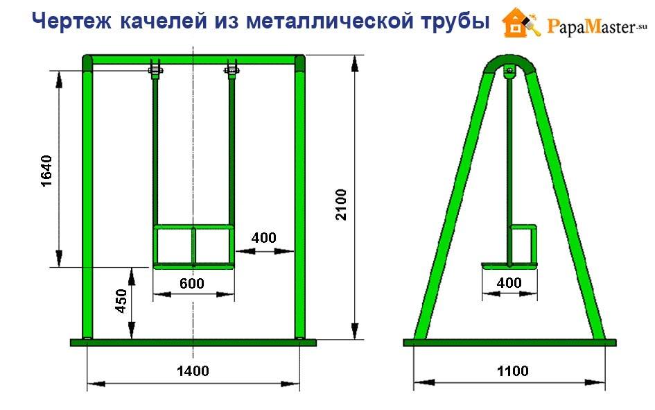 Как сделать садовую качелю из труб