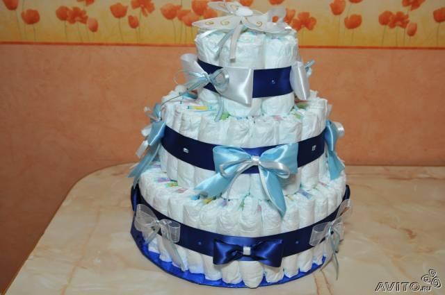 Простой торт из памперсов своими руками фото