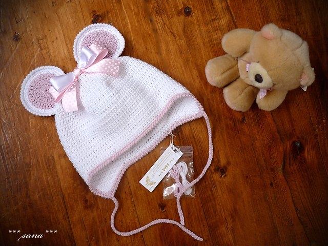 Вязание шапочки с ушками для новорожденного мальчика 87
