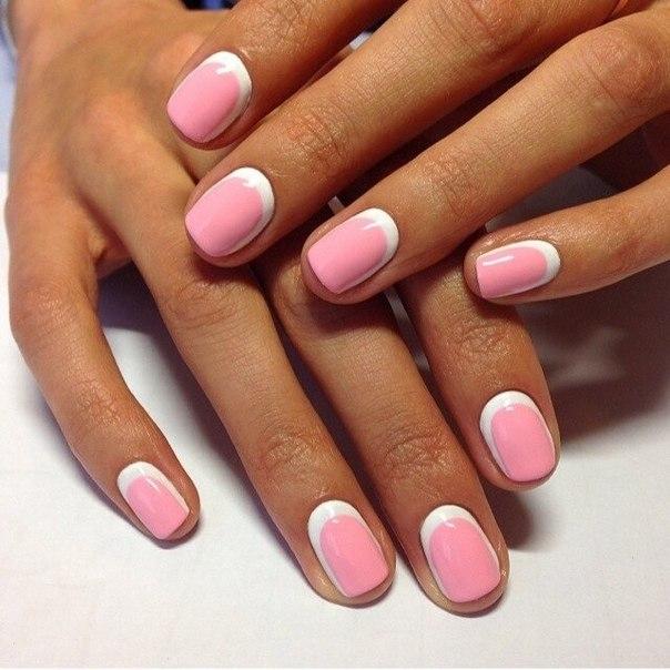 Короткие ногти розовые