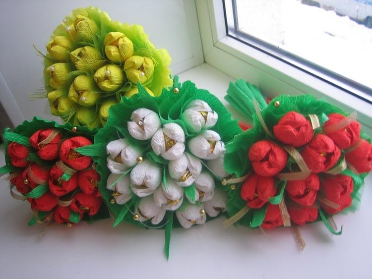 Букеты тюльпан из конфет своими руками пошаговое фото